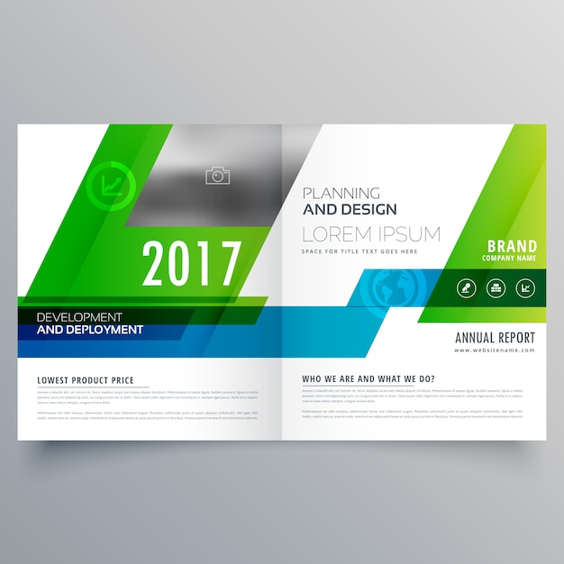Green Bi Fold Brochure Template Design For Your Business Vector