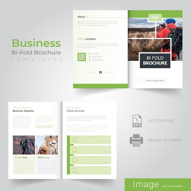 Green bifold brochure design Premium Vector