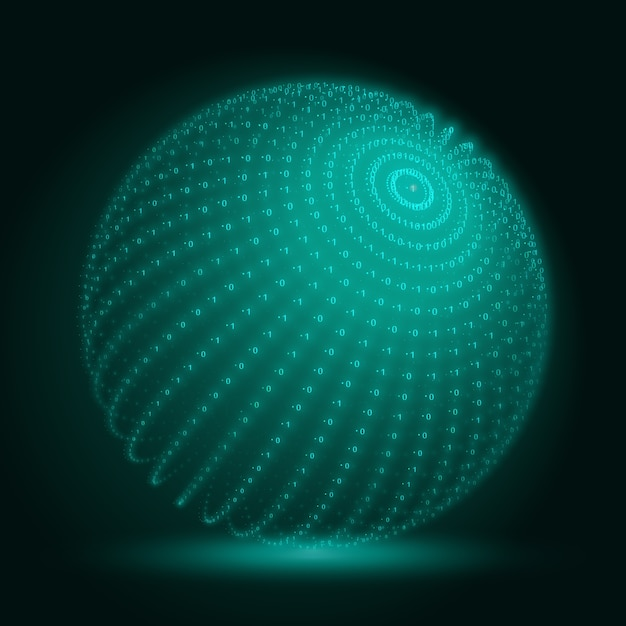 Green big data sphere with binary numbers strings. Free Vector