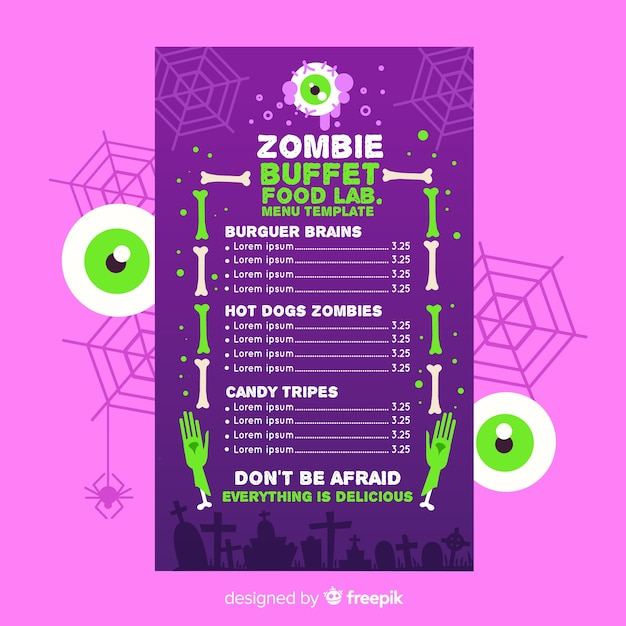 Green big eyes and menu template Free Vector