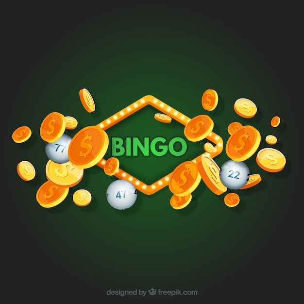 Green bingo background with golden coins Free Vector
