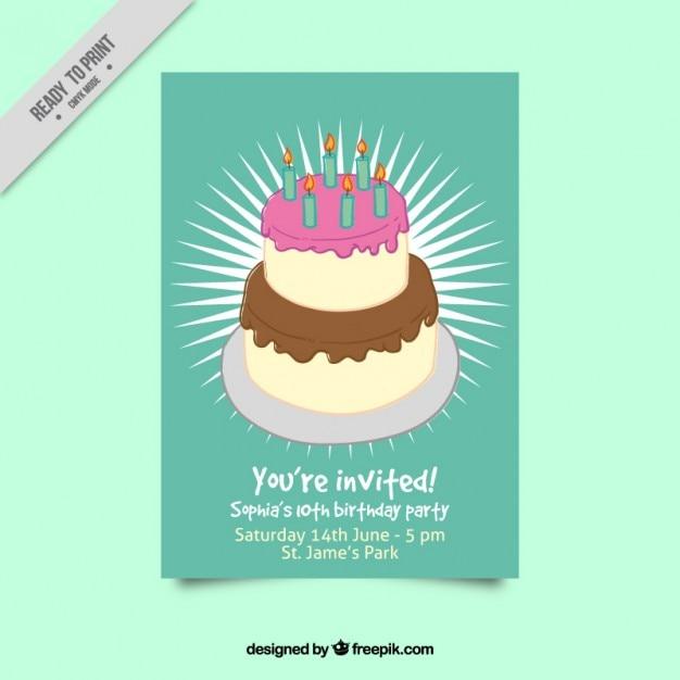 Green birthday invitation with big cake