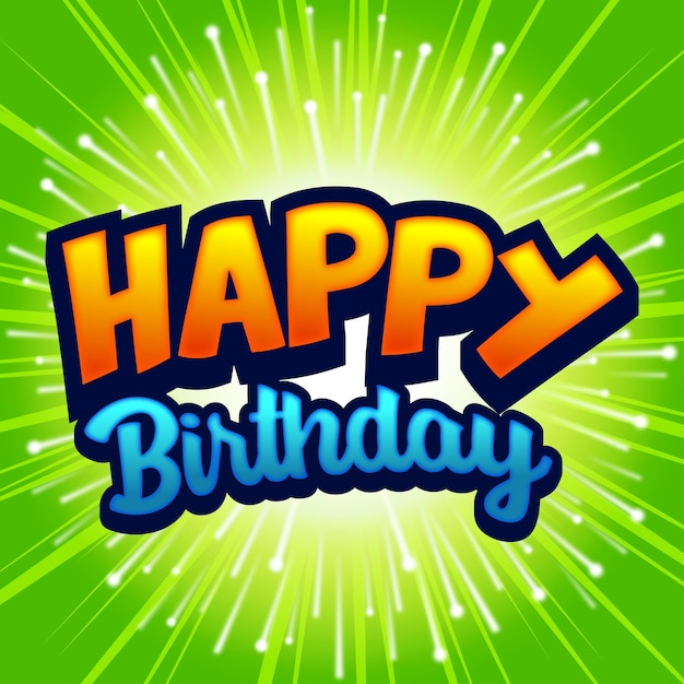 Green birthday tittle with fire works Premium Vector