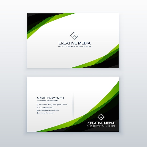 Green And Black Business Card Template Vector Free Download