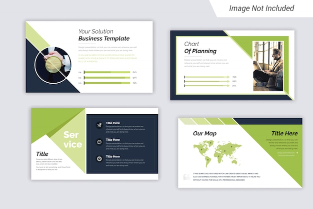 Green and black color corporate business  presentation slides design Premium Vector