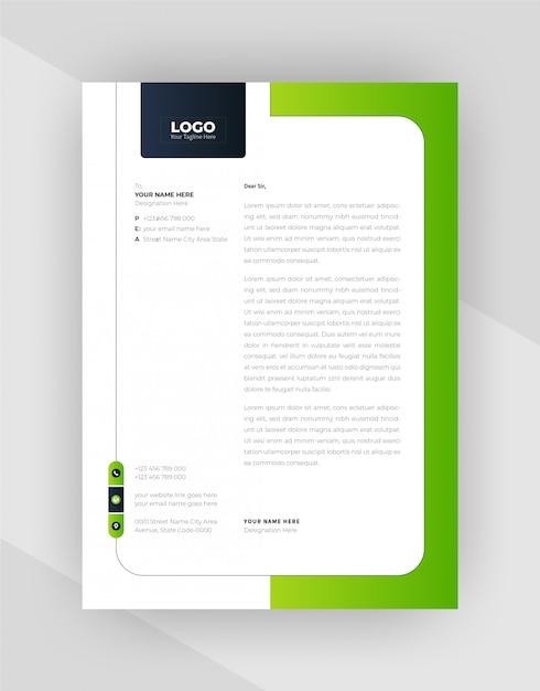 Зеленый и черный цвет креативный дизайн фирменного бланка. Бесплатные векторы