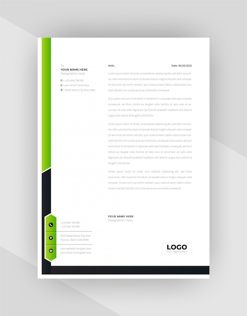 Green & black color creative letterhead template design. Free Vector