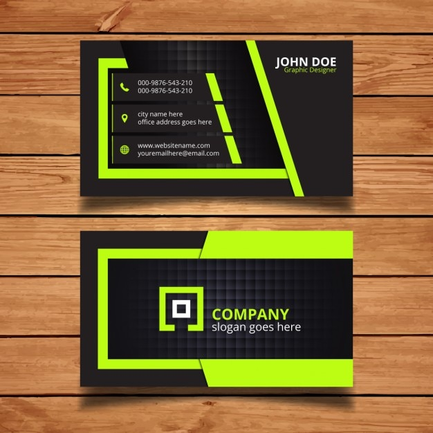 Green And Black Corporate Business Card Design Vector Free Download
