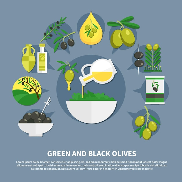 Green and black olives, canned products, oil, bowl with salad, flat composition Free Vector