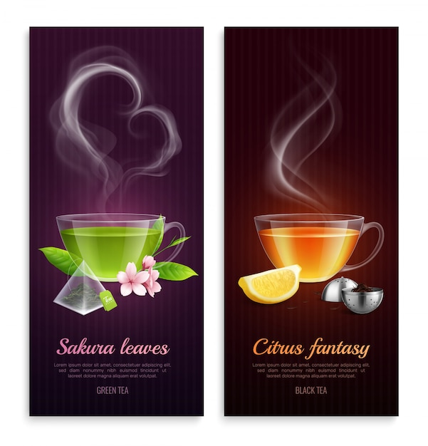 Green and black tea with sakura leaves and citrus fantasy aroma promote vertical banners with steaming cups images realistic Free Vector