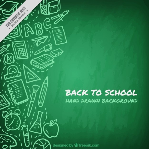 Green blackboard background with drawings Free Vector