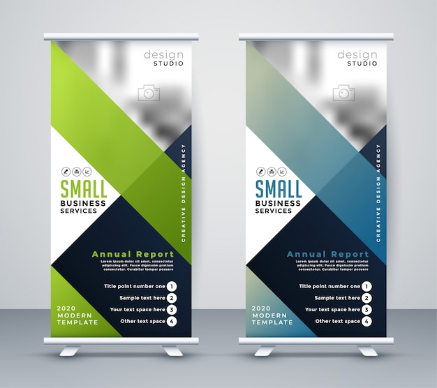 Green and blue business rollup standee banner Free Vector