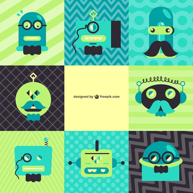 Green and blue retro robots collection Free Vector