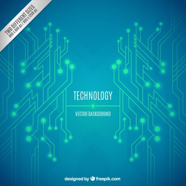 Green and blue technology background Free Vector