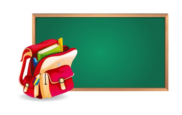 Green board and school bag Free Vector
