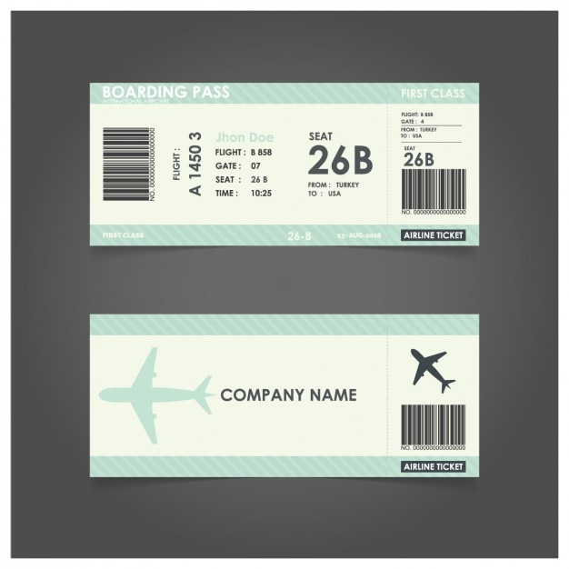 Green boarding pass template Vector | Free Download