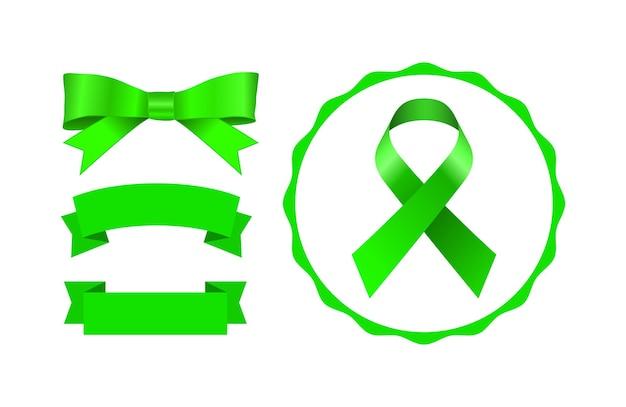 緑の弓のバナーとリボンのアイコンセット Premiumベクター