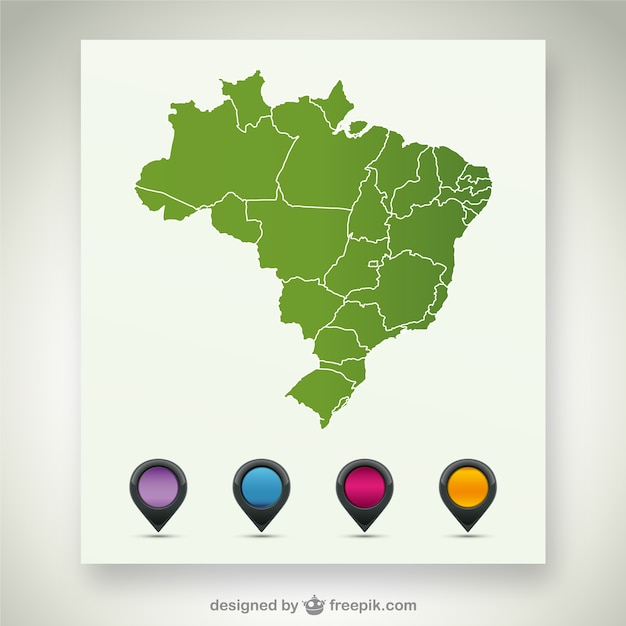 Green Brazil map with pin maps in different colors Free Vector