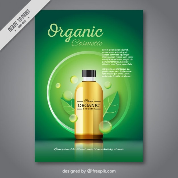 Green brochure of organic cosmetic Free Vector