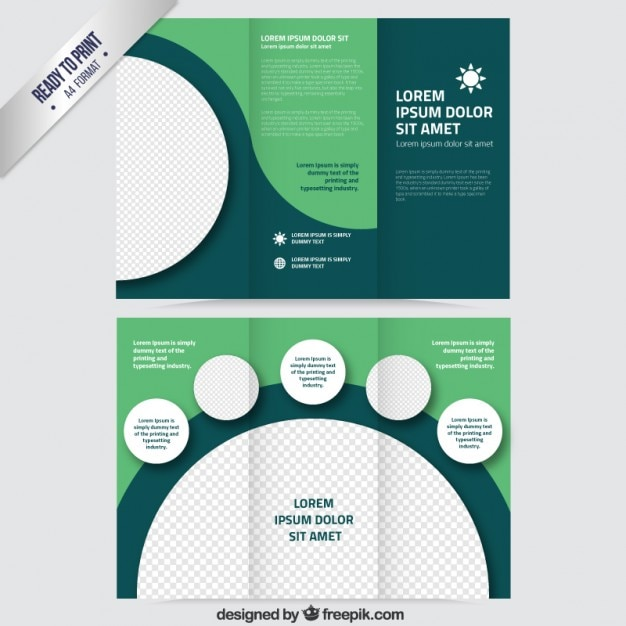 green brochure template - green brochure with circles vector free download