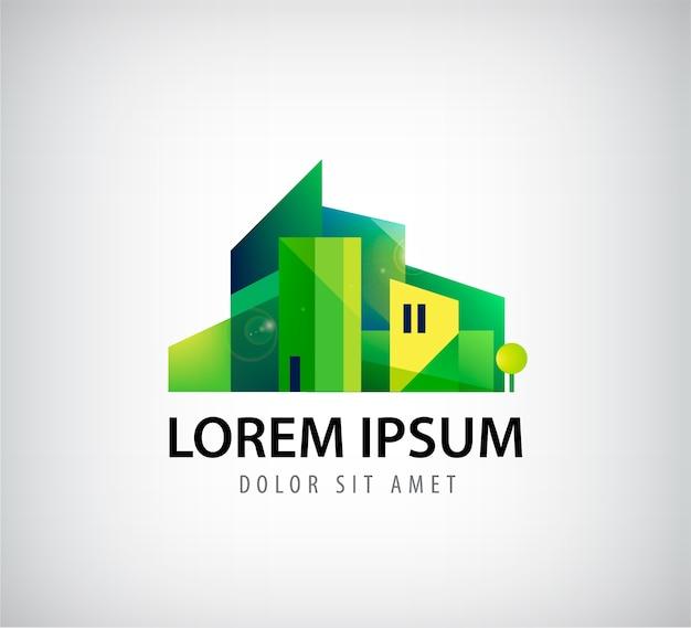灰色で隔離の緑の建物のロゴ Premiumベクター