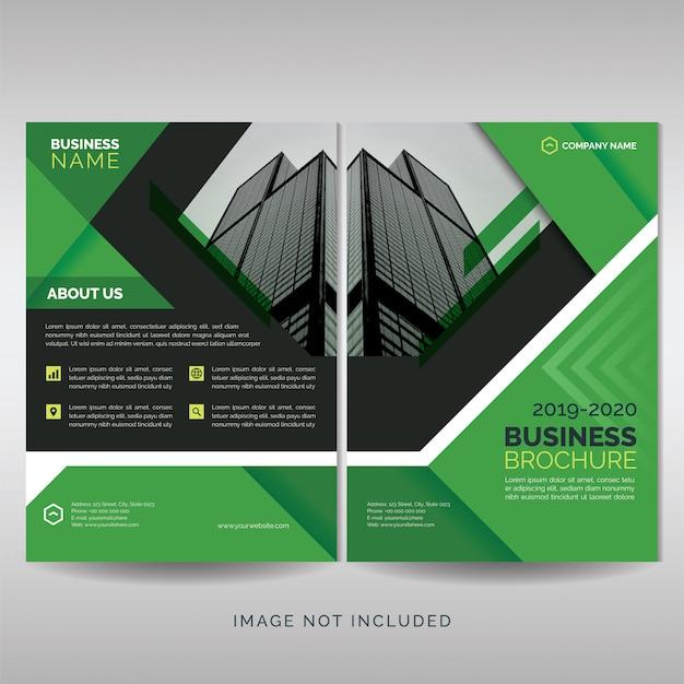 Green business brochure cover template Premium Vector