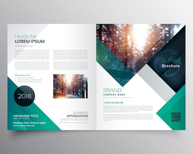 Green business brochure template vector free download for Company brochure template free