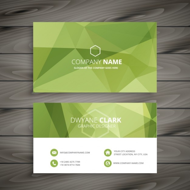 Green Business Card In Low Poly Style Vector Free Download