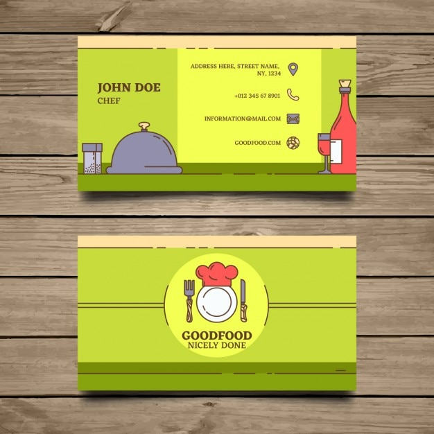 Green business card for restaurants Free Vector
