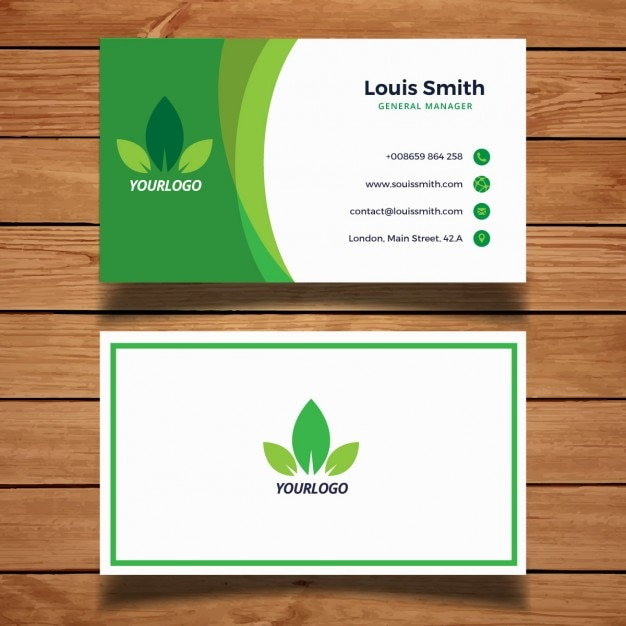 Green Business Card With Leaves Vector Free Download