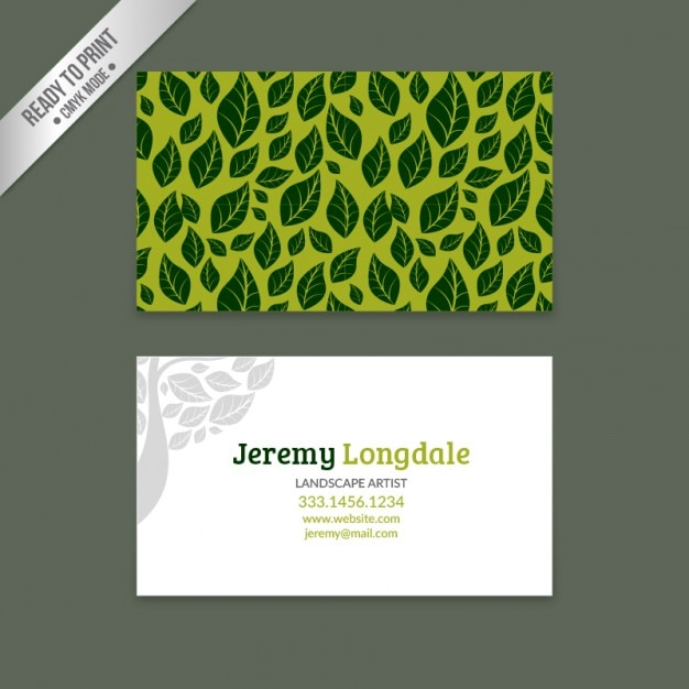 Green business card with leaves Free Vector