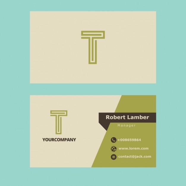 Зеленый визитные карточки с t письмом Бесплатные векторы