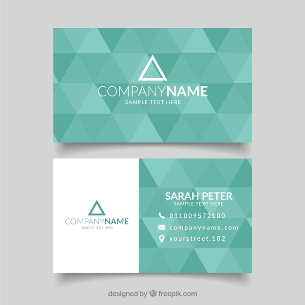 green business card with triangular shapes vector free download