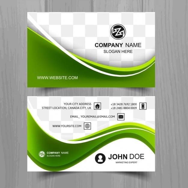 Green business card with wavy shapes vector free download green business card with wavy shapes free vector friedricerecipe Images