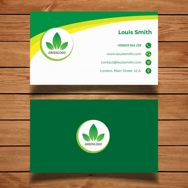 Green Business Card Vector Free Download
