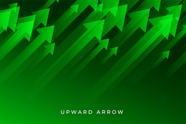 Green business growth arrow showing upward trend | Free Vector