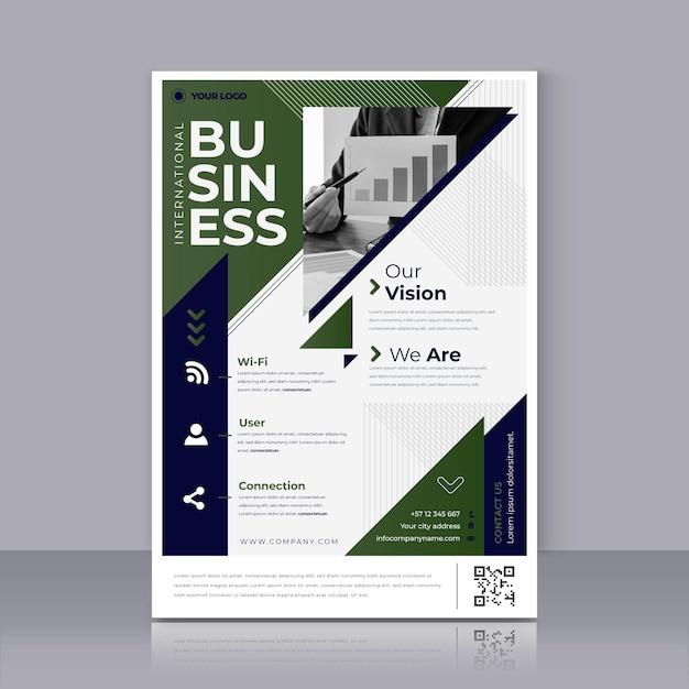 녹색 비즈니스 포스터 인쇄 템플릿 무료 벡터