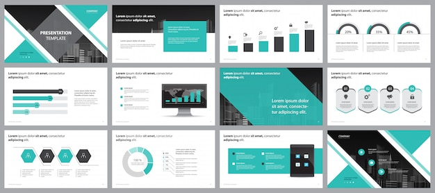 Green Business Presentation Page Layout Design Template Premium Vector