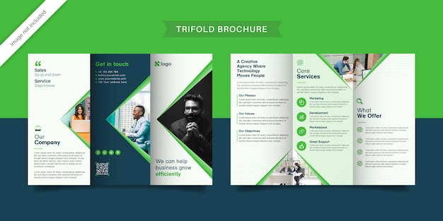 グリーンビジネス3つ折りパンフレット Premiumベクター