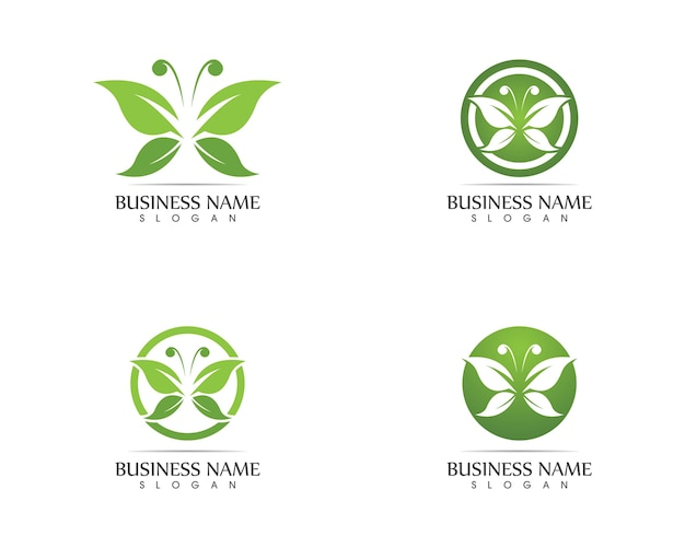 Green butterfly logo design vector illustration Premium Vector