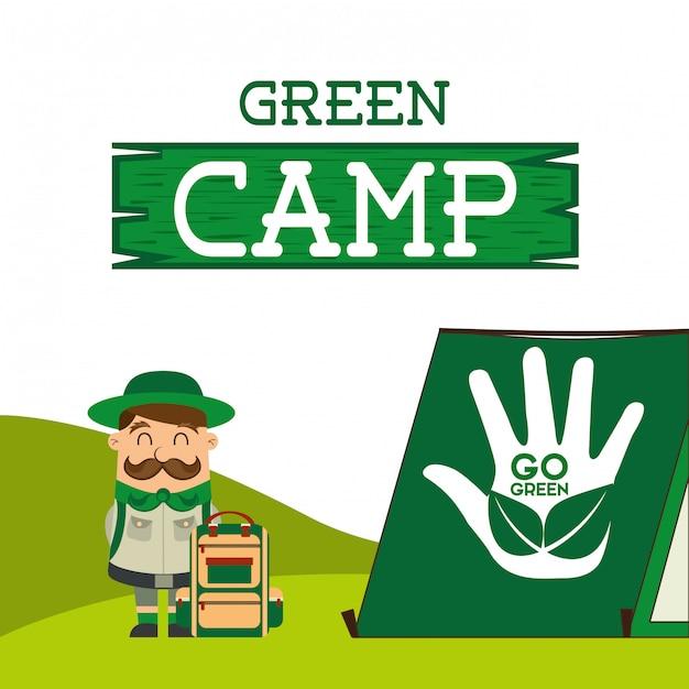 Green camp Premium Vector
