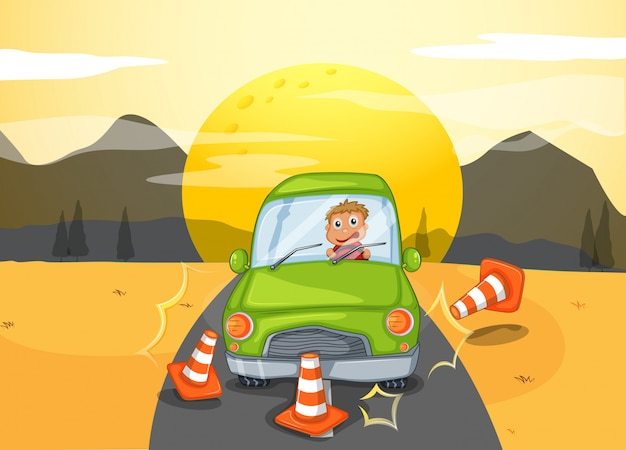 A green car bumping the traffic cones Free Vector