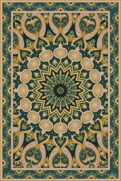 Green carpet with pomegranate. Premium Vector