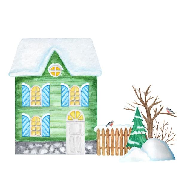 木製のフェンスとウソの鳥のカップル、雪のドリフト、クリスマスツリーと緑の漫画の冬の家。 Premiumベクター