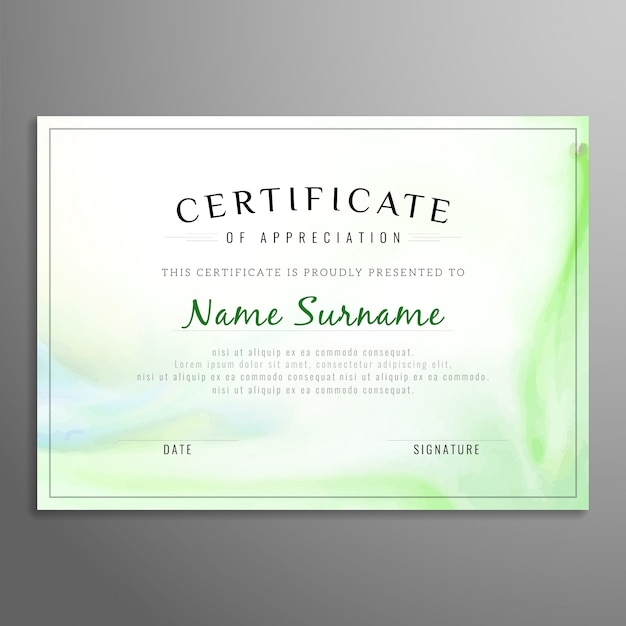 Green Certificate Of Appreciation Template Vector Free Download