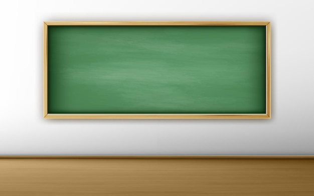 Green chalkboard in classroom with white wall and wooden floor Free Vector