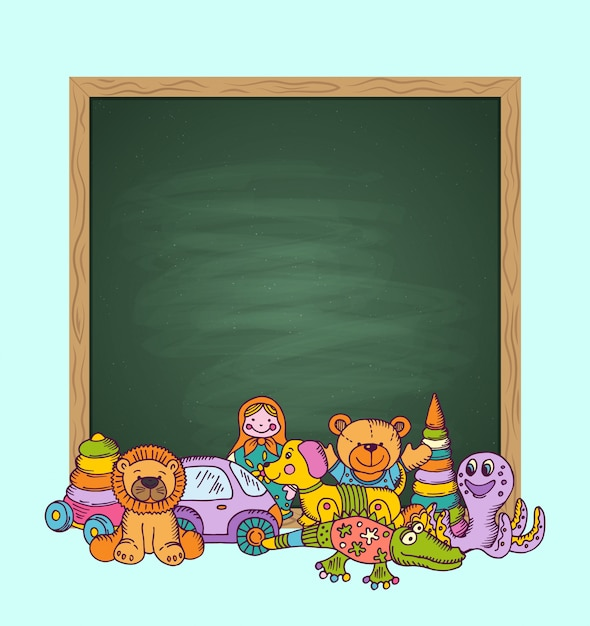 Green chalkboard  with place for text and pile of kid toys hand drawn and colored. toys for child and chalk board cartoon Premium Vector
