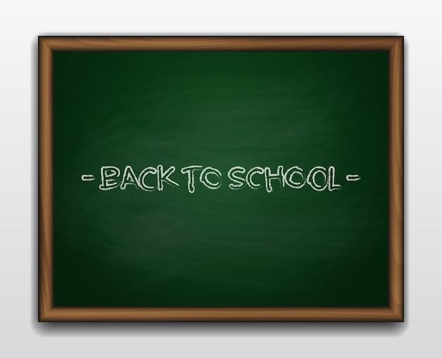 Green chalkboard in wooden frame. back to school Premium Vector