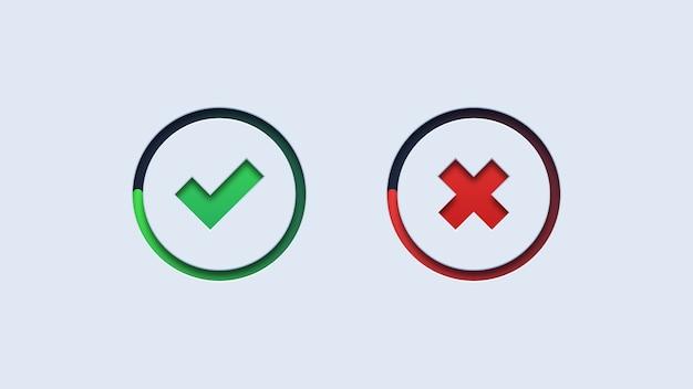 Зеленая галочка и кнопки красного креста Premium векторы