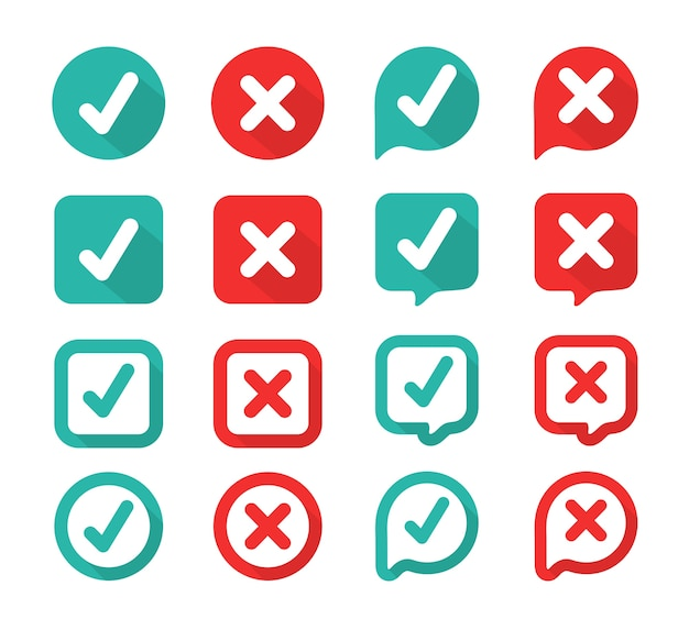 Green check mark and red wrong on the checked box. true or false Premium Vector